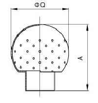sanitary welded stationary spray head 50052