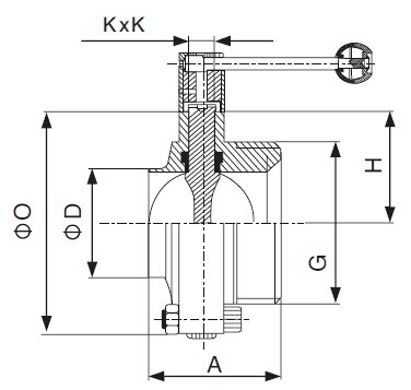3A Welded x Threaded Butterfly Valve