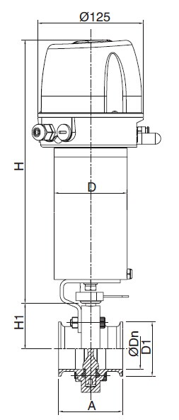 Sanitary Pneumatic Clamped Butterfly Valve - 3a,sms,iso,ds Series