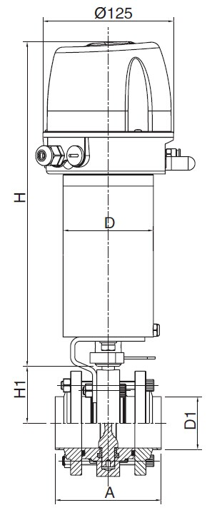 Sanitary Pneumatic Flangd Three-Piece Butterfly Valve - DIN Series