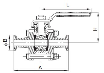 Three-Piece Clamped Ball Valve-sanitary 3pcs valve