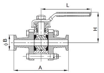 Three-Piece Clamped Ball Valve-sanitary 3pcs valve