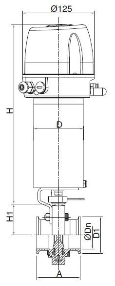 Sanitary Pneumatic Clamped Butterfly Valve - DIN Series