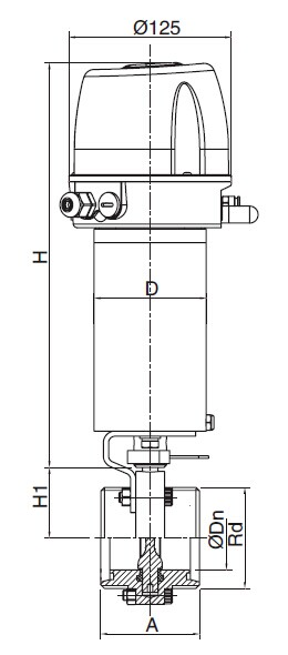 Sanitary Pneumatic Threaded Butterfly Valve - DIN Series
