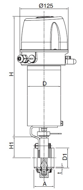 Sanitary Pneumatic Welded Butterfly Valve - DIN Series