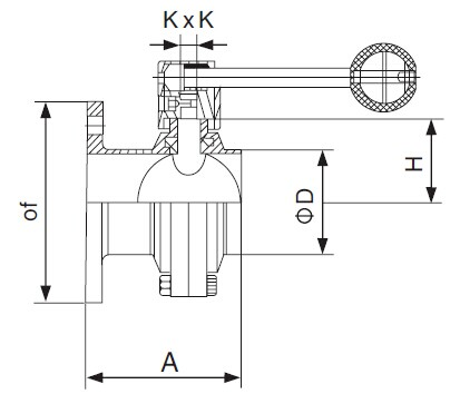 DIN Flanged x threaded Butterfly Valve