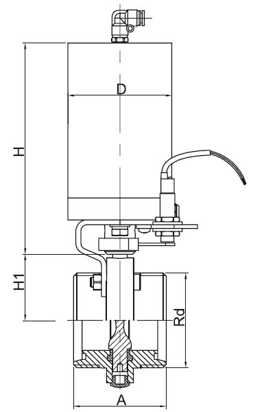Sanitary Pneumatic Threaded Butterfly Valve - DINSeries