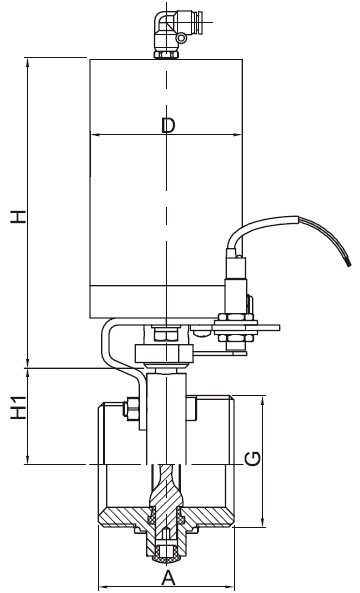 Sanitary Pneumatic Threaded Butterfly Valve - 3A Series