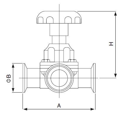 Sanitary Three-Way Diaphragm Valve