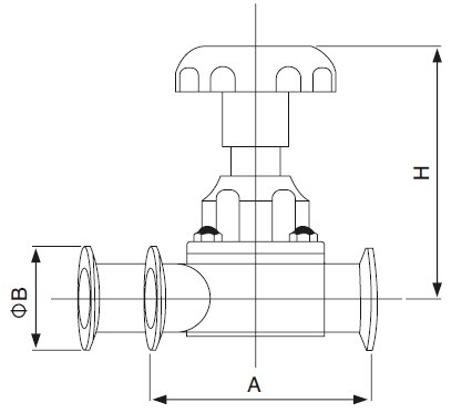 Sanitary U-type Three-Way Diaphragm Valve