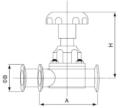 Sanitary U-type Three-Way Diaphragm Valve