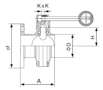 SMS Flanged x threaded Butterfly Valve