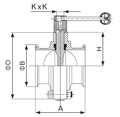 SMS Clamped Butterfly Valve