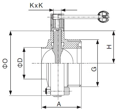 SMS Welded x Threaded Butterfly Valve