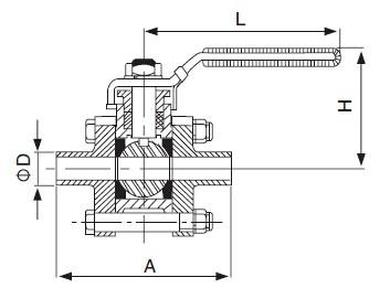 Three-Piece welded Ball Valve-sanitary 3pcs valve