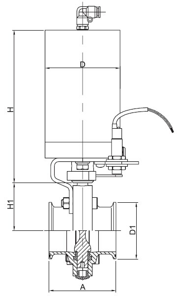 Sanitary Pneumatic Tri-Clamp Ends Butterfly Valve - DIN Series